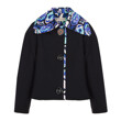 FLOWER MICRO PRINT COLLLAR COAT SHORT (BLACK)