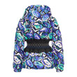 FLOWER MICRO PRINT HOOD DOWN JACKET W/ WAISTBAND (BLUE)