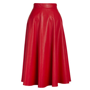 FAUX LEATHER SKIRT(RED)